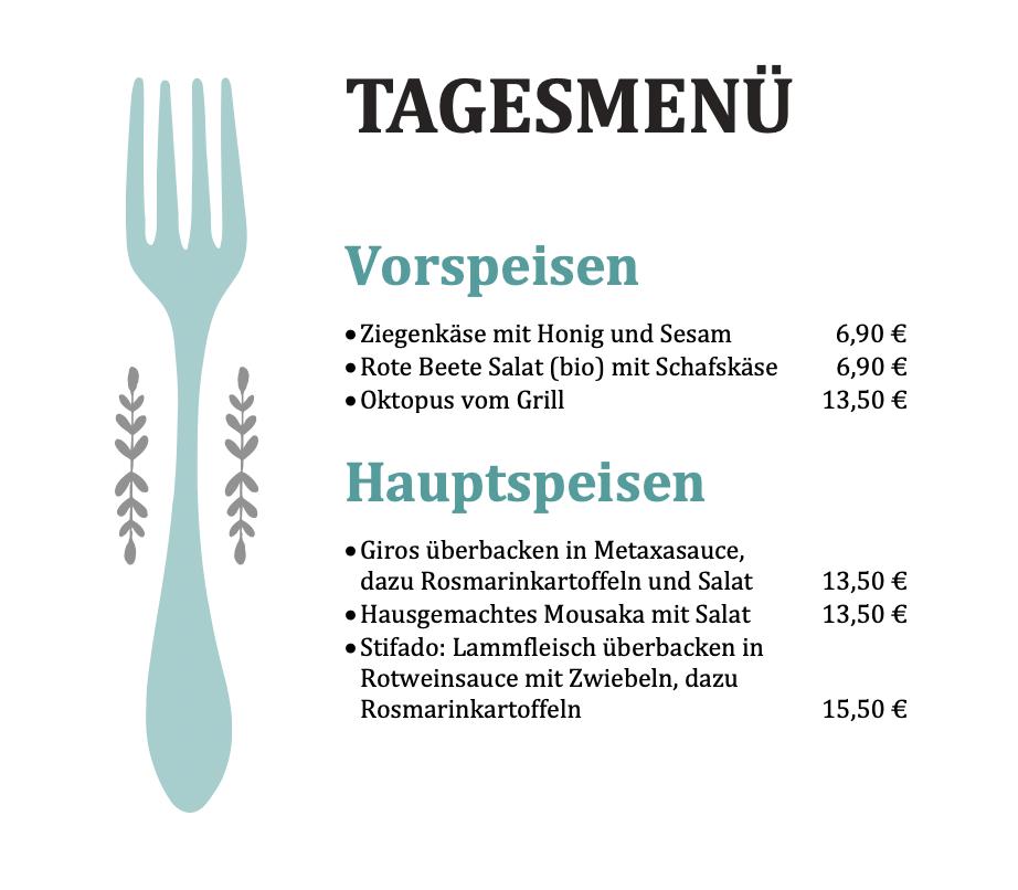 Tageskarte | Grieche Nürnberg